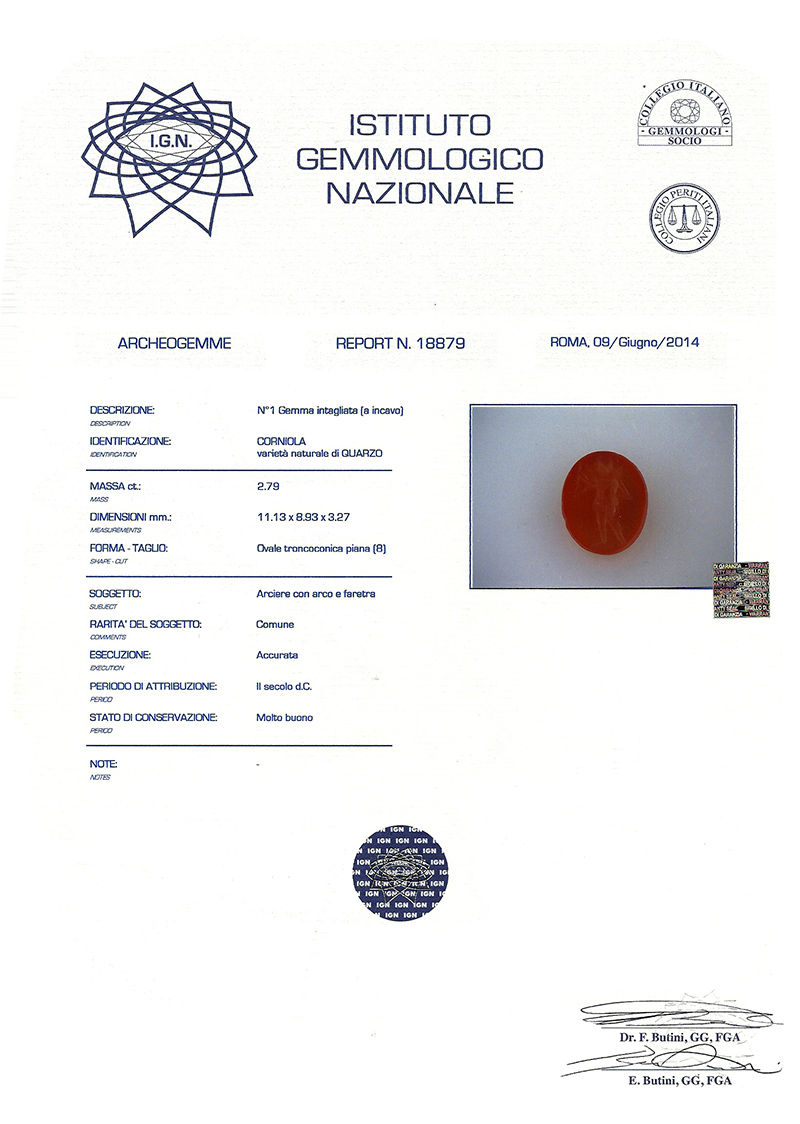 Certificato Archeogemme